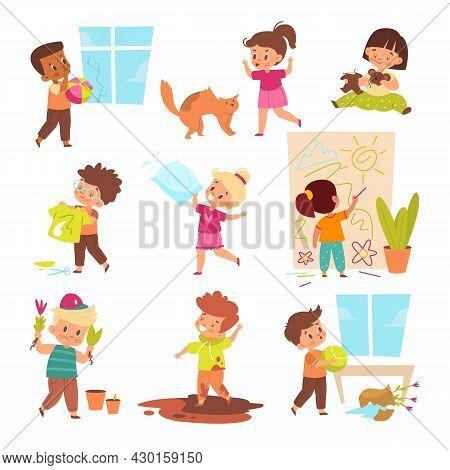 Kids Destroy. Children Make Mess, Hyperactive Boys And Girls Making Trouble, Negative Behavior, Naug