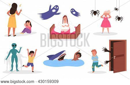 Kids Fears. Different Children Phobias. Scared Boys And Girls. Babies Afraid Of Terrible Dreaming An