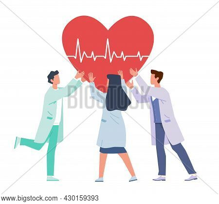 Heart Support. Doctors And Nurses Hold Huge Heart, Cardiology Team, Professional Aid And Therapy, Tr