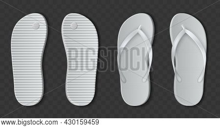 White Flip Flops Sandals. Realistic Beach Rubber Slippers. Bathroom Or Pool Shoes Set With Open Fing