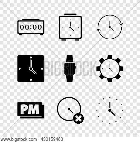 Set Digital Alarm Clock, Alarm, Clock, Pm, Delete, And Smartwatch Icon. Vector