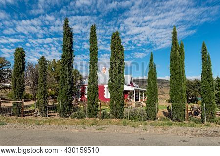 Klaarstroom, South Africa - April 5, 2021: A Street Scene, With A House And Conifers, In Klaarstroom