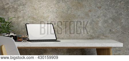 Freelance Photographer Working Desk, Tablet Mockup, Copy Space, Camera, Loft Wall