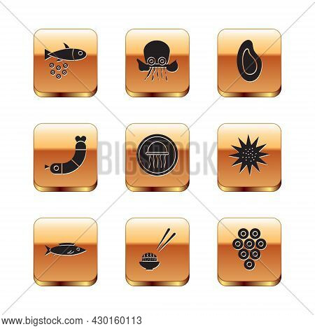 Set Fish With Caviar, Sushi, Jellyfish On Plate, Shrimp, Mussel, Caviar And Octopus Icon. Vector