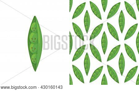 Super Cute Seamless Pattern With Vegetables - Tasty Green Peas. Fresh Peas In Cartoon Style.
