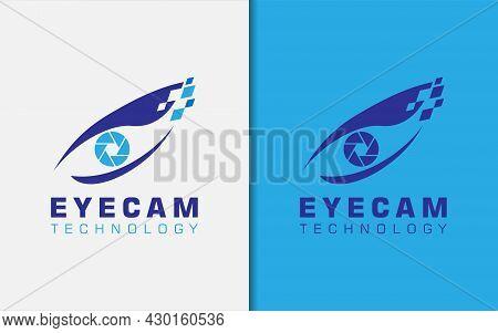 Digital Eye And Cam Lens Combination, Modern Logo Design. Graphic Design Element.