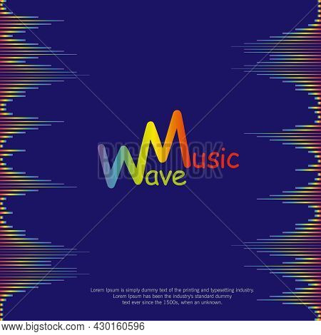 Poster With Rainbow Equalizer Elements. Pulse Music Player Background. Audio Colorful Sound Wave Des