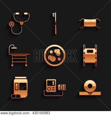 Set Petri Dish With Bacteria, Blood Pressure, Otolaryngological Head Reflector, Stretcher, Medicine
