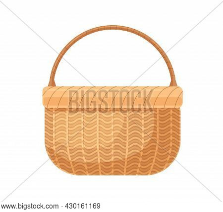 Straw Basket With Braided Woven Handle. Realistic Wicker Without Lid. Empty Basketwork For Storage.