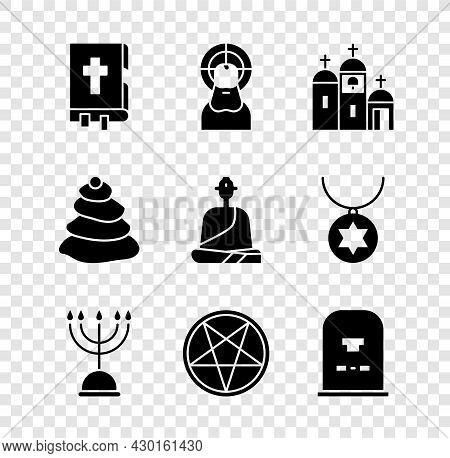 Set Holy Bible Book, Jesus Christ, Church Building, Hanukkah Menorah, Pentagram Circle, Tombstone Wi