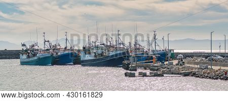 Gansbaai, South Africa - April 12, 2021: View Of The Harbour In Gansbaai In The Western Cape Provinc