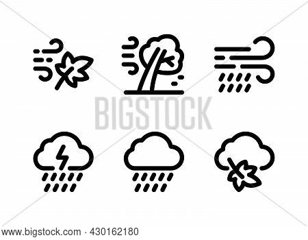 Simple Set Of Autumn Related Vector Line Icons. Contains Icons As Breeze, Rain, Thunderstorm And Mor