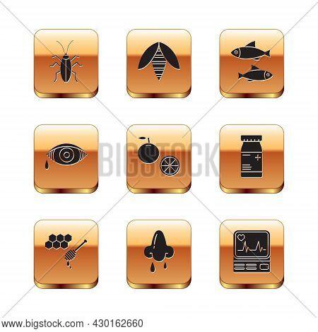Set Cockroach, Honeycomb With Honey Dipper, Runny Nose, Orange Fruit, Reddish Eye Allergic Conjuncti