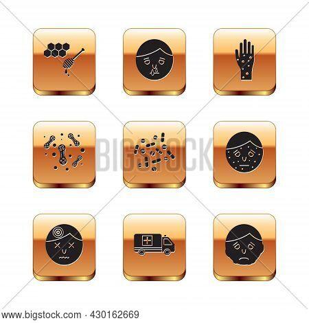 Set Honeycomb With Honey Dipper, Man Having Headache, Emergency Car, Medicine Pill Or Tablet, Bacter
