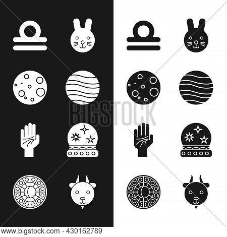 Set Planet Jupiter, Moon, Libra Zodiac, Rabbit, Palmistry Of The Hand, Magic Ball, Aries And Astrolo