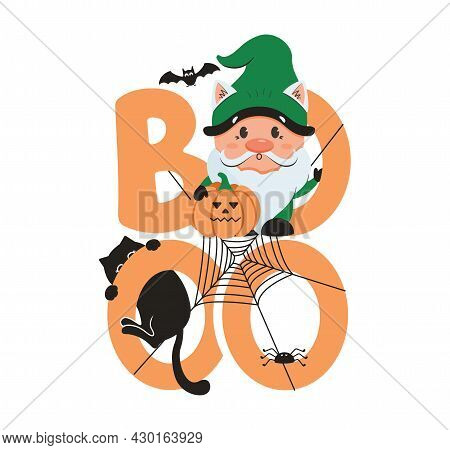 The Halloween Image With Gnome, Text Boo, Cat And Spider