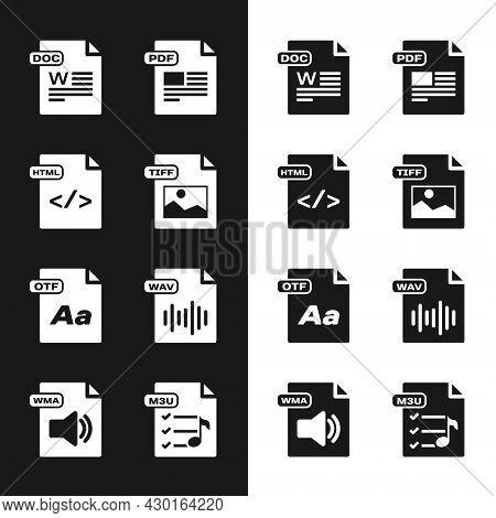 Set Tiff File Document, Html, Doc, Pdf, Otf, Wav, M3u And Wma Icon. Vector