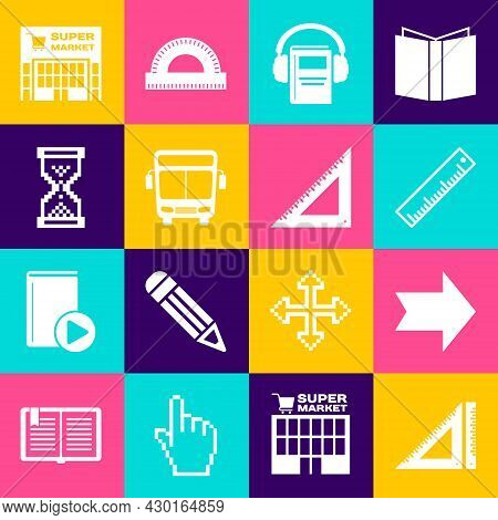 Set Triangular Ruler, Arrow, Ruler, Audio Book, Bus, Hourglass Pixel, Supermarket Building And Icon.