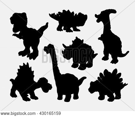 Set With Silhouettes Of Dinosaurs. Style Dinosaurs Collection Emblems, Icons And Tattoos.black Preda