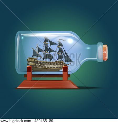 Pirate Ship In A Bottle.sailing Crafts. Miniature Models Of Marine Vessels. Hobby And Sea Theme.vect