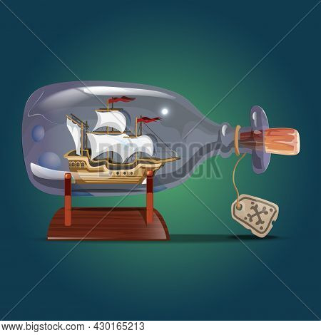 Ship In A Bottle.sailing Crafts. Miniature Models Of Marine Vessels. Hobby And Sea Theme.vector Illu