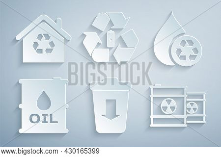 Set Send To The Trash, Recycle Clean Aqua, Oil Barrel, Radioactive Waste In, Battery With Recycle An