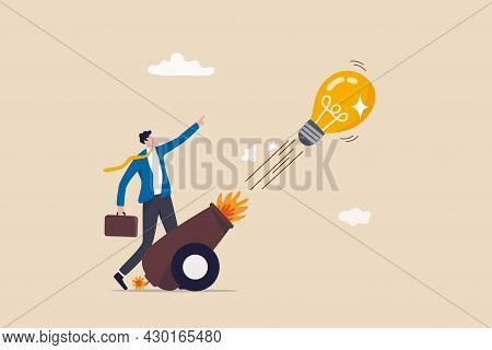 Launch New Business Idea, Creativity And Innovative Winning Solution, Entrepreneurship Or Start Up B