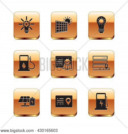 Set Light Bulb With Gear, Solar Energy Panel And Battery, Address Book, Certificate Template, Bio Fu