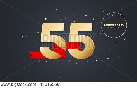55 Year Anniversary Banner With Red Ribbon On White. 55th Years Celebration. Poster Or Brochure Temp