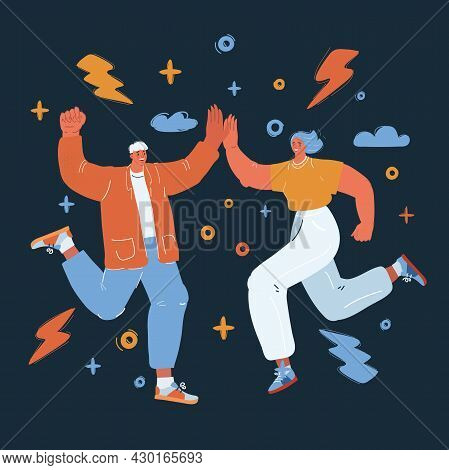 Vector Illustration Of Enthusiastic Couple Jumping And Making A High-five Over Dark Backround.