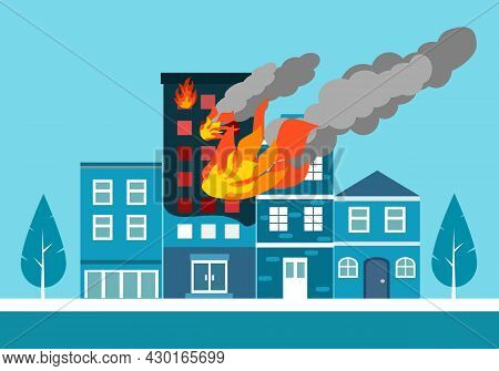 Fire Burning Residential Apartment Building. Orange Flames In The Windows And Smoke. Building Fire F