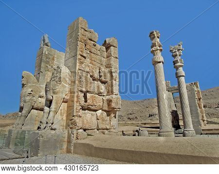Remains Of The Gates Of All Nations, Decorated By Mythical Bulls With The Human Heads, And Leading T