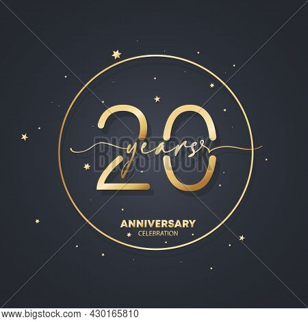 20 Years Anniversary Logo Template. 20th Birthday, Wedding Anniversary Icon. Trendy Symbol Image. Ve