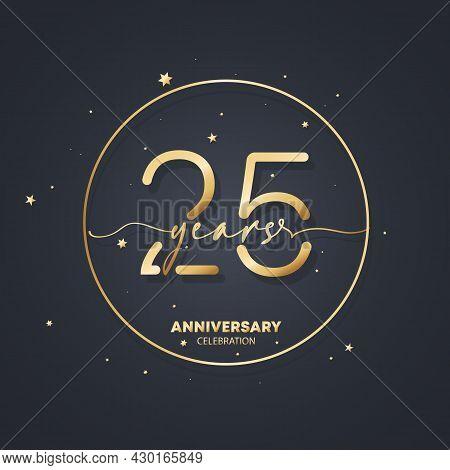 25 Years Anniversary Logo Template. 25th Birthday, Wedding Anniversary Icon. Trendy Symbol Image. Ve