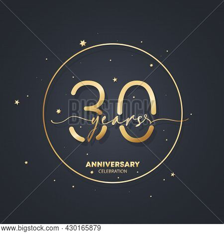 30 Years Anniversary Logo Template. 30th Birthday, Wedding Anniversary Icon. Trendy Symbol Image. Ve