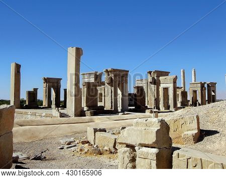 Remains Of Palace Of Xerxes In Persepolis, Ex Capital Of Ancient Persia, Near Shiraz, Iran. Fire Tha