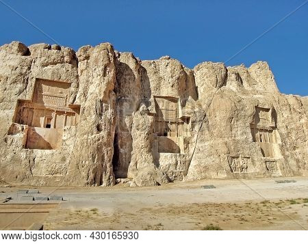 Panoramic View Onto Naqsh-e Rostam, Near Persepolis, Iran. Place Famous For Its Cross-formed Tombs O