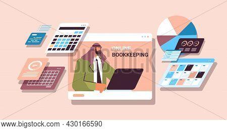Arab Businessman Analyzing Statistics Data Financial Accountant Online Bookkeeping Concept
