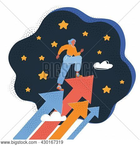 Vector Illustration Of Concept Growth, Career, Start Up. Woman Walk Up Arrow At Stary Sky