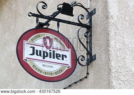 Genouilleux, France - July 21, 2021: Jupiter Logo On A Building. Jupiter Is A Belgian Beer Introduce
