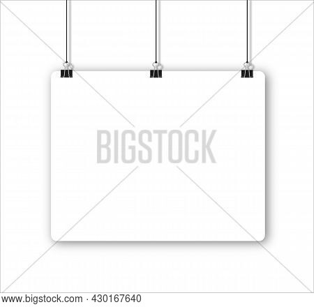 Paper Sheet With Shadow In A4 Format And Black Paper Clip