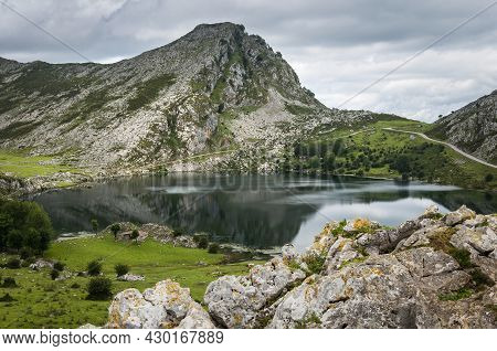 Landscape Of The Mountains Of The Picos De Europa In Cantabria With Blue Sky And White Clouds.