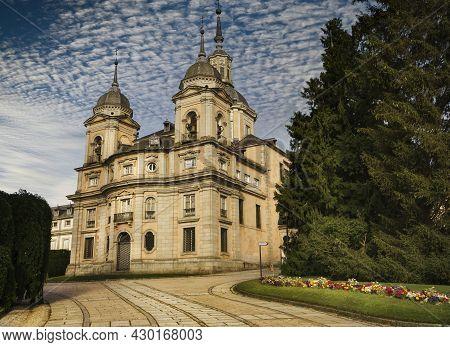 La Granja De San Ildefonso, Segovia, Spain; 07,23,2021: Royal Collegiate Church Of The Holy Trinity