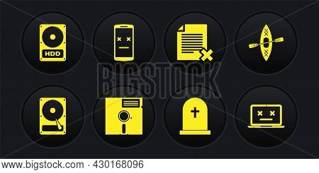 Set Hard Disk Drive Hdd, Kayak And Paddle, Floppy In The 5.25-inch, Tombstone With Cross, Delete Fil