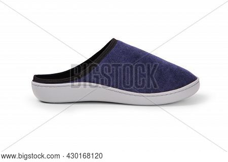 Blue Home Slippers, Design Mockup. Hotel Bath Slippers Top View Isolated On White Background. Clear