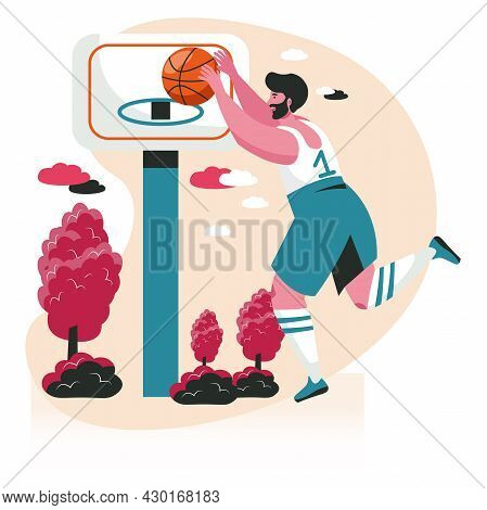People Do Their Favorite Hobby Scene Concept. Man In Sports Uniform Learns To Play Streetball. Baske