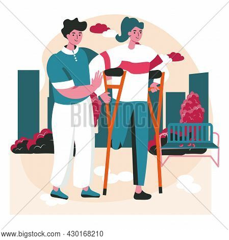 Disabled People Scene Concept. Handicapped Woman Walks On Crutches, Man Helps Her. Accessibility And