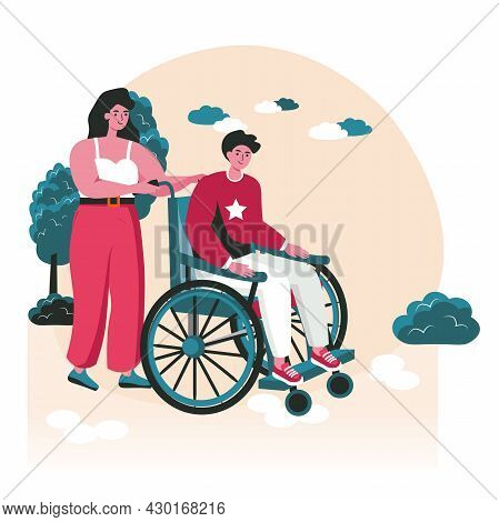 Disabled People Scene Concept. Woman Carries Handicapped Man In Wheelchair. Accessibility And Rehabi