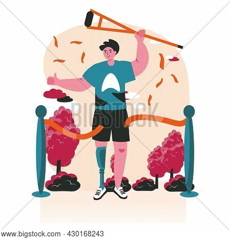Disabled People Scene Concept. Man With Prosthesis On The Finish Line Breaks Tape And Holds Crutch.