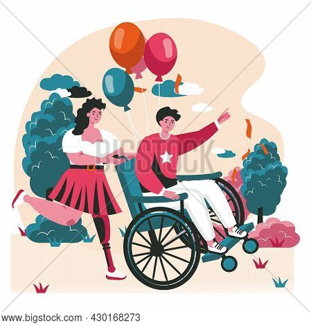Disabled People Scene Concept. Woman With Prosthetic Leg Carries Man In Wheelchair To Celebrate. Acc